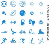 vector set of 25 blue sport... | Shutterstock .eps vector #178640771