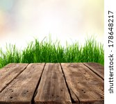 brown table and green grass  | Shutterstock . vector #178648217