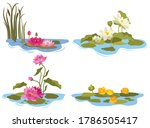 set of water lilies. collection ... | Shutterstock .eps vector #1786505417
