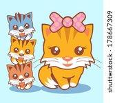 Cat An Kittens Vector
