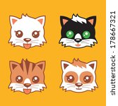 kitten heads vector | Shutterstock .eps vector #178667321