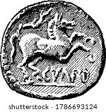The back side of a British coin during the time period of the Roman invasion in the Gallic War, B.C. 54. Gallic wars were a series of military campaigns waged by the Roman proconsul Julius Caesar
