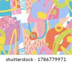 seamless abstract doodle... | Shutterstock . vector #1786779971
