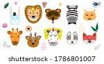 cute animals hand drawn vector...   Shutterstock .eps vector #1786801007
