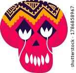 mexican decorated skull  mexico ... | Shutterstock .eps vector #1786858967
