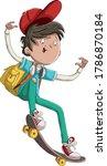 cartoon boy riding a skate... | Shutterstock .eps vector #1786870184
