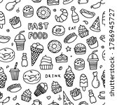 black and whitedoodle fast food.... | Shutterstock .eps vector #1786945727