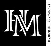 hm letter logo with black...   Shutterstock .eps vector #1787007491