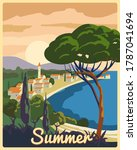 travel poster retro old city... | Shutterstock .eps vector #1787041694