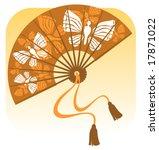 stylized fan with butterflies... | Shutterstock . vector #17871022