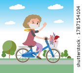 a woman on a bicycle uses a... | Shutterstock .eps vector #1787154104