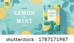 lemon mint tea paper can... | Shutterstock .eps vector #1787171987