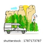 A White Van With Forest And...