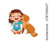 happy cute little kid play with ... | Shutterstock .eps vector #1787185637