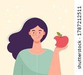 woman is eating an apple. diet... | Shutterstock .eps vector #1787212511