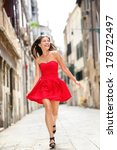 happy beautiful woman in red... | Shutterstock . vector #178722497