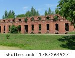 Destroyed brick barracks in Russia. Arakcheevskie barracks in the village of Selishchi.