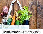 beige canvas grocery bag with...