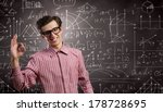 young funny man in glasses... | Shutterstock . vector #178728695