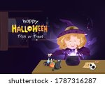 halloween  cute witch cooking... | Shutterstock .eps vector #1787316287