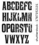 distressed serif alphabet. hand ... | Shutterstock . vector #1787352131