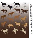 twelve silhouettes of standing... | Shutterstock .eps vector #178737305