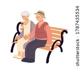 old couple sitting on a bench... | Shutterstock .eps vector #1787435534