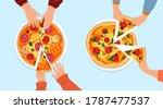 pizza slice in hands vector... | Shutterstock .eps vector #1787477537