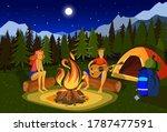 Night Camping Vector...