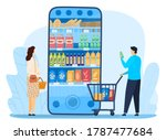 grocery shopping online vector... | Shutterstock .eps vector #1787477684
