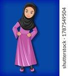 beautiful arabic lady cartoon... | Shutterstock .eps vector #1787549504