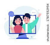 two people communicating...   Shutterstock .eps vector #1787552954