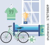 Flat Design Vector Illustration My Space to Relax with my sports gear my room My room relax space with my comfortable bed and my bike with modern flat vector design illustration