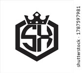 sx logo monogram rounded by... | Shutterstock .eps vector #1787597981