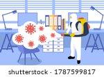 a man in hazmat suit spraying... | Shutterstock .eps vector #1787599817