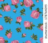 seamless pattern pink roses | Shutterstock .eps vector #178764095