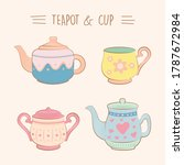 collection of vintage cute... | Shutterstock .eps vector #1787672984
