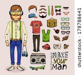 sketch male hipster set with... | Shutterstock .eps vector #178788641