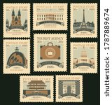 set of old postage stamps on... | Shutterstock .eps vector #1787889674