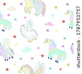 beautiful hand drawn pegasus... | Shutterstock .eps vector #1787953757