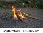 Small photo of ritualistic bonfire shaman to transmute all that is bad into good in the morning