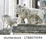 Bavarian lion statue in front of Field Marshals Hall, Munich, Germany