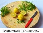 Lemonade Being Cut Using Knife.