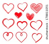 vector hearts set. hand drawn. | Shutterstock .eps vector #178811051