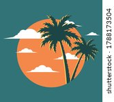 graphic image with palm tree...   Shutterstock .eps vector #1788173504