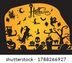 design set of silhouettes of... | Shutterstock .eps vector #1788266927