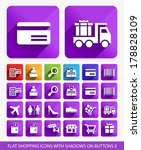 flat shopping icons on square... | Shutterstock .eps vector #178828109
