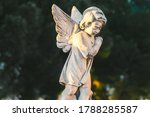 Statue Of Baby Angel With Wing...