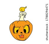 funny pumpkin with a candle ... | Shutterstock .eps vector #1788296471