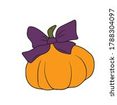 pumpkin with a bow. vector... | Shutterstock .eps vector #1788304097